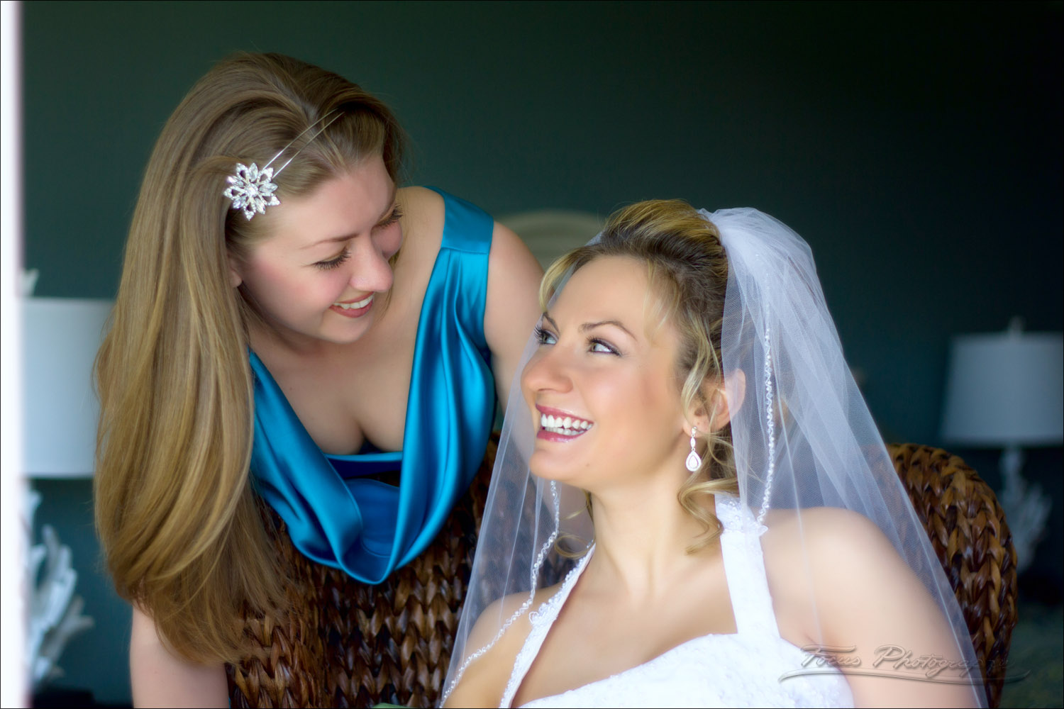bride and maid of honor at maine wedding at Nonantum resort in Kennebunkport