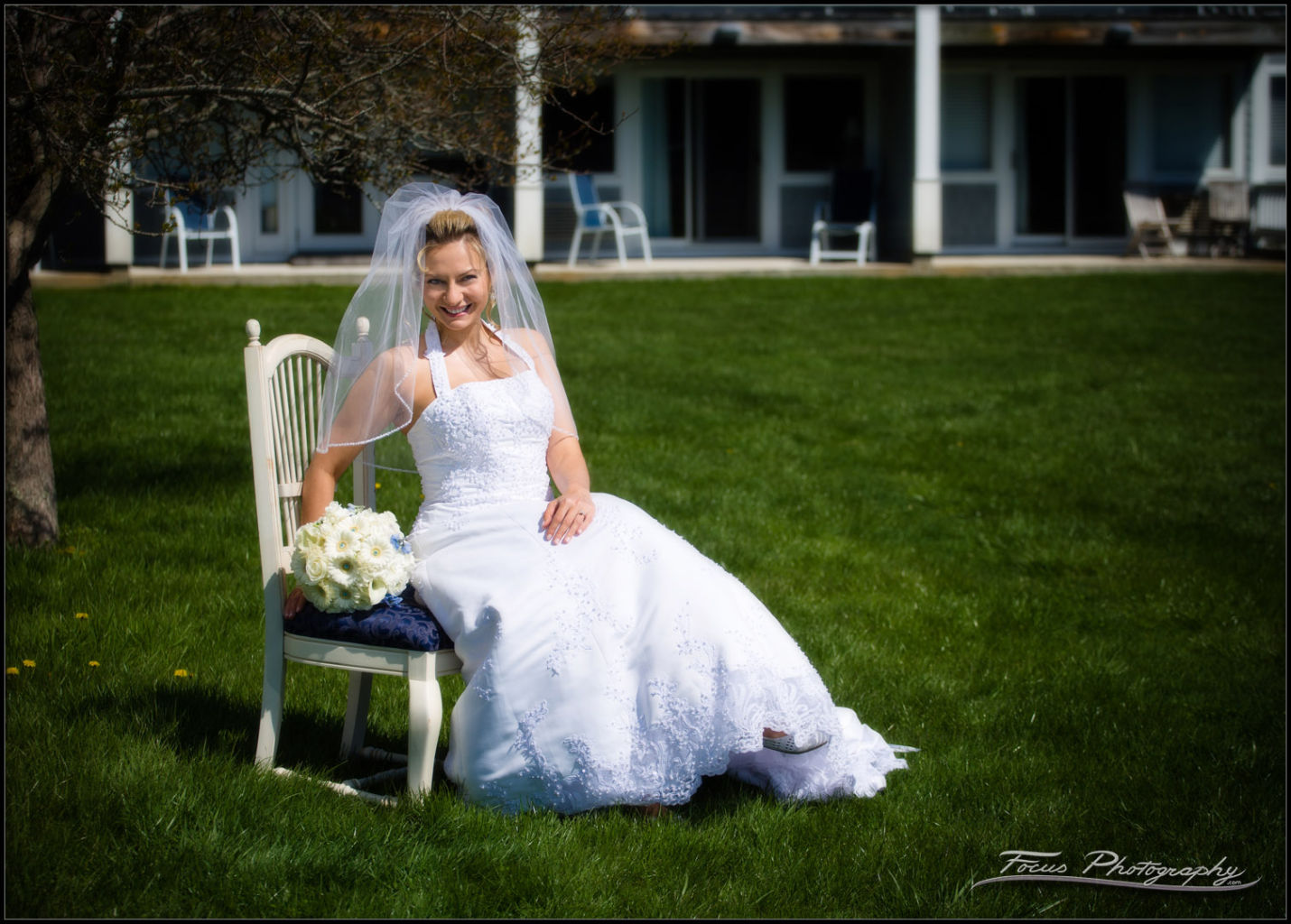 bride and dress at maine wedding