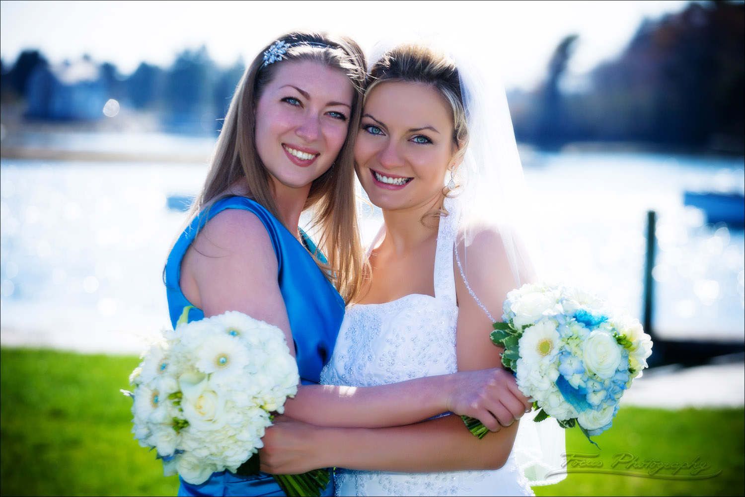 wedding photography of bride and maid of honor in kennebunkport, maine