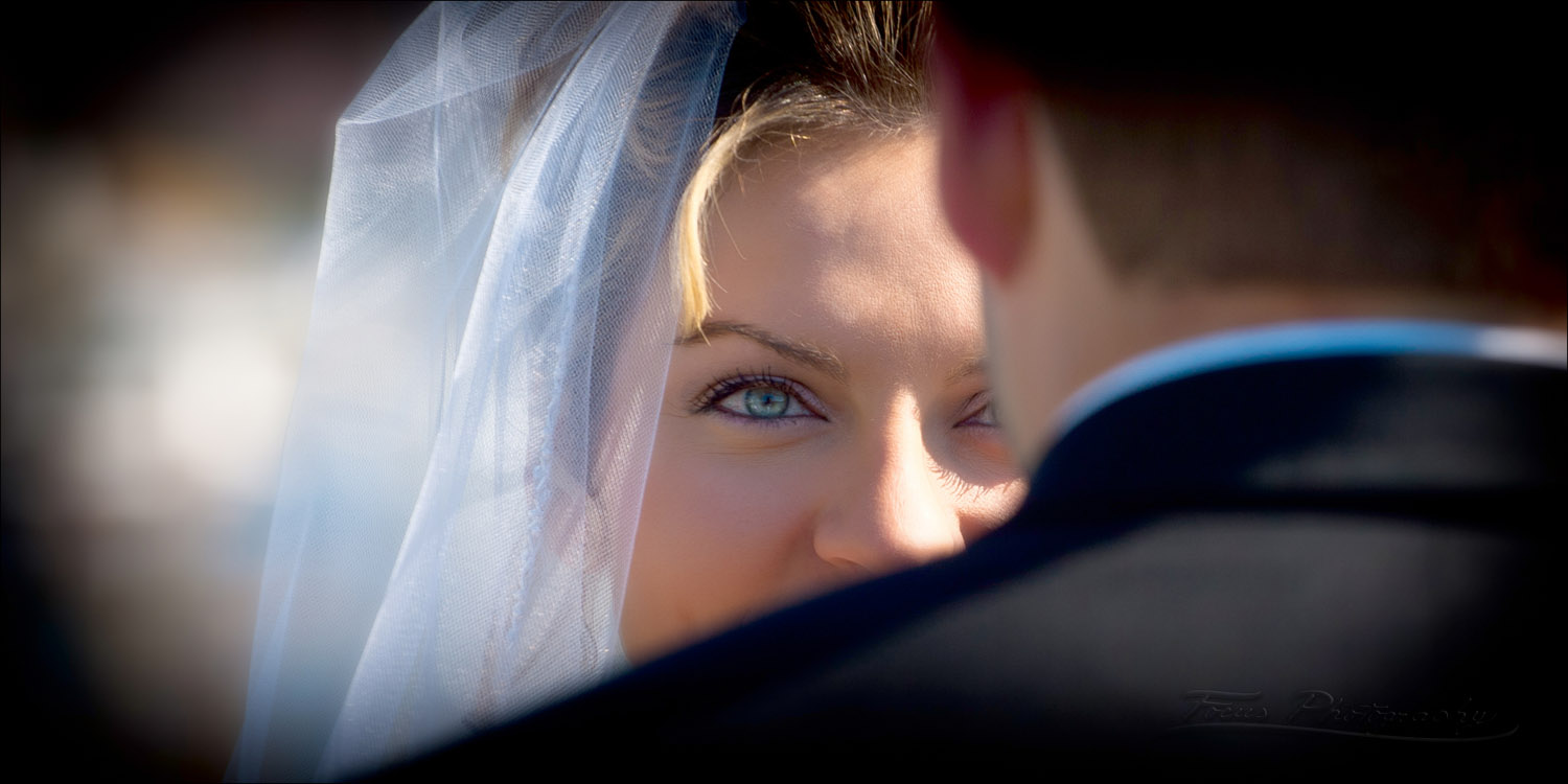 bride's eyes at wedding ceremony in Kennebunk, Maine