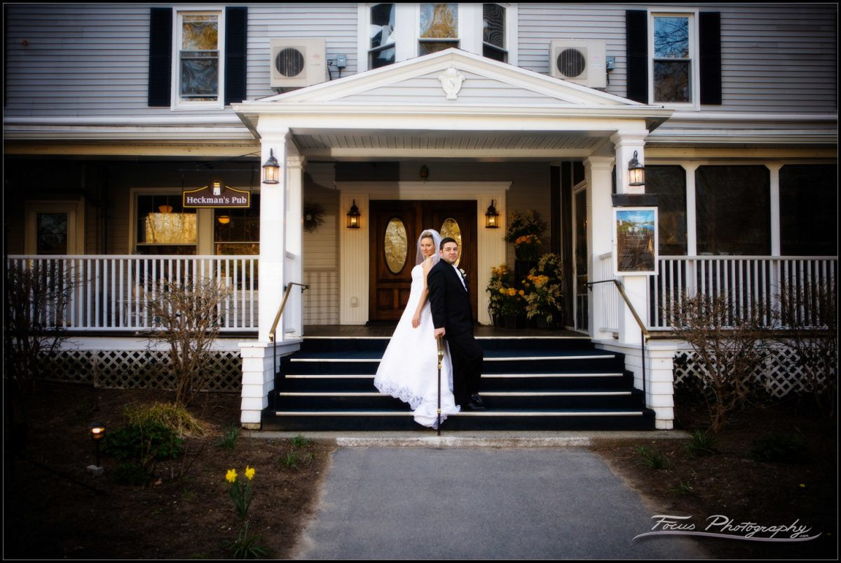 Bride and groom at Nonantum resort in Kennebunkport, Maine