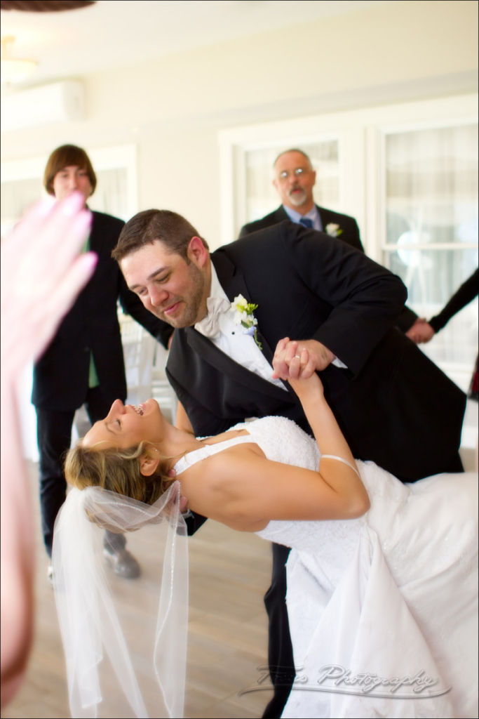 a weddding dance dip. image by maine wedding photographers Focus Photography