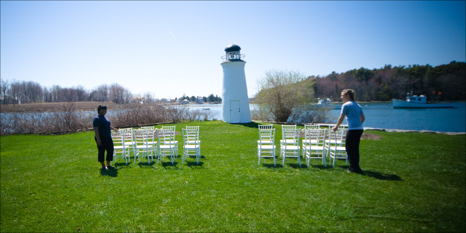 The Nonantum staff sets up the ceremony site at this Maine wedding