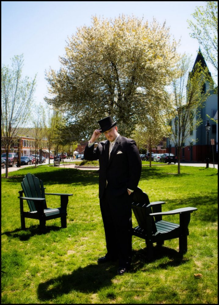 wedding pictures of groom in top hat at boston area wedding