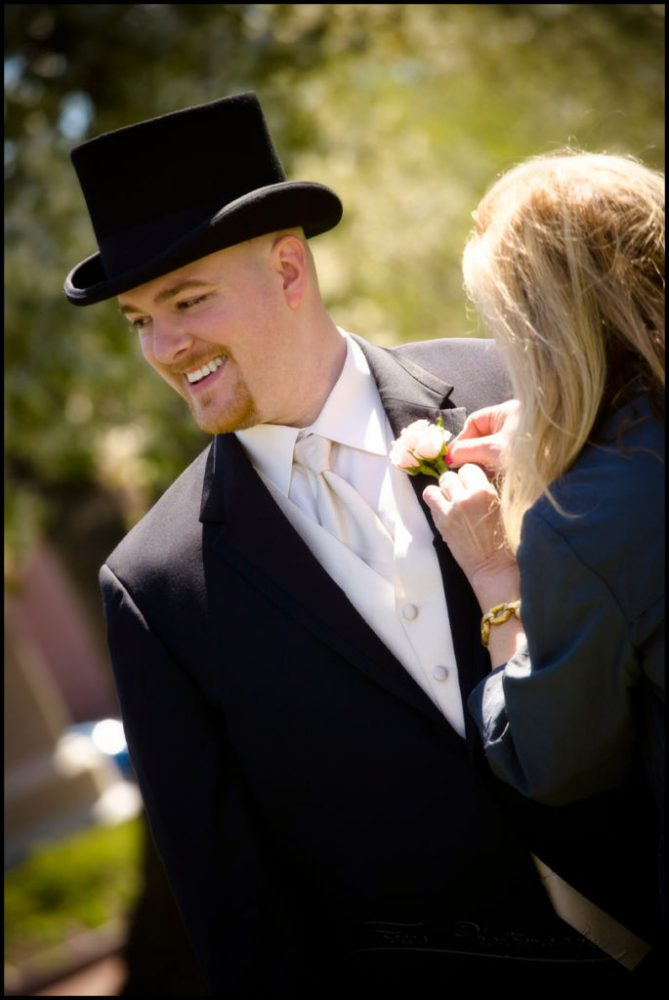 groom getting pinned at boston area wedding - photographers: Focus Photography