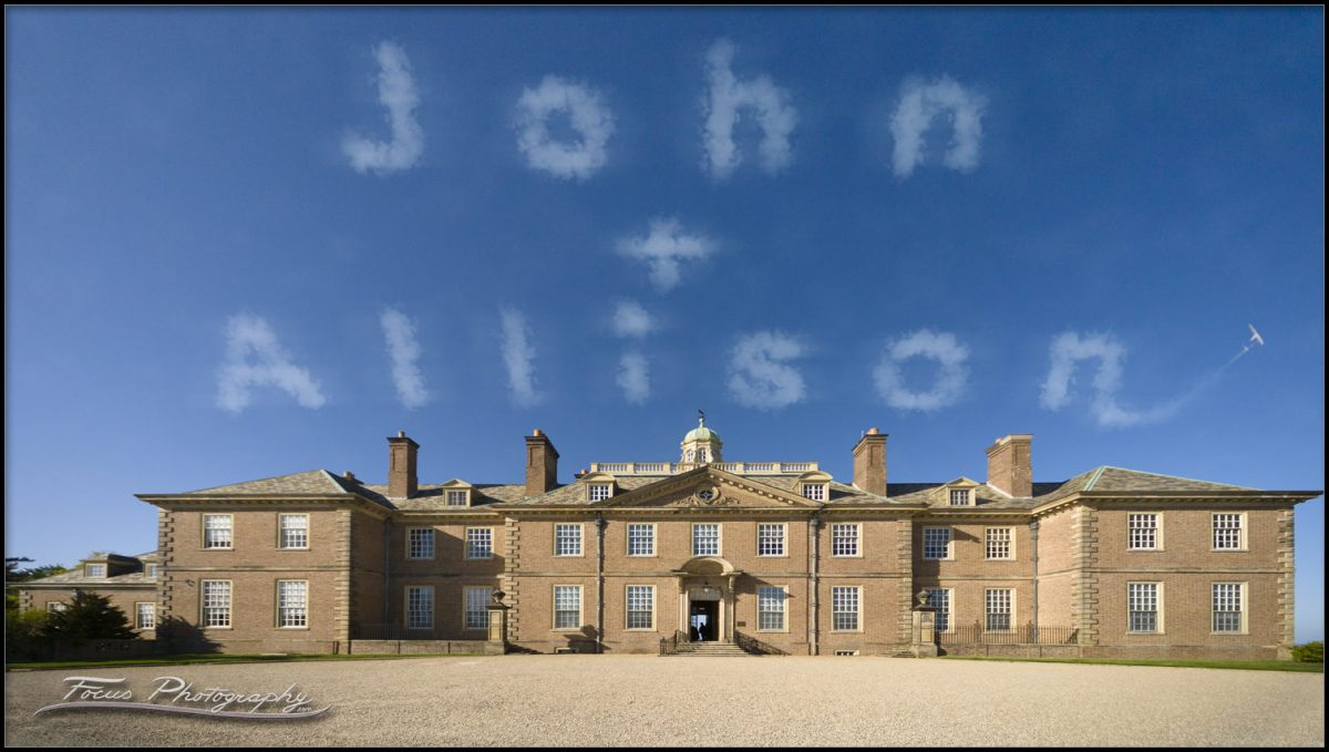 sky writing over the Crane Estate on wedding day