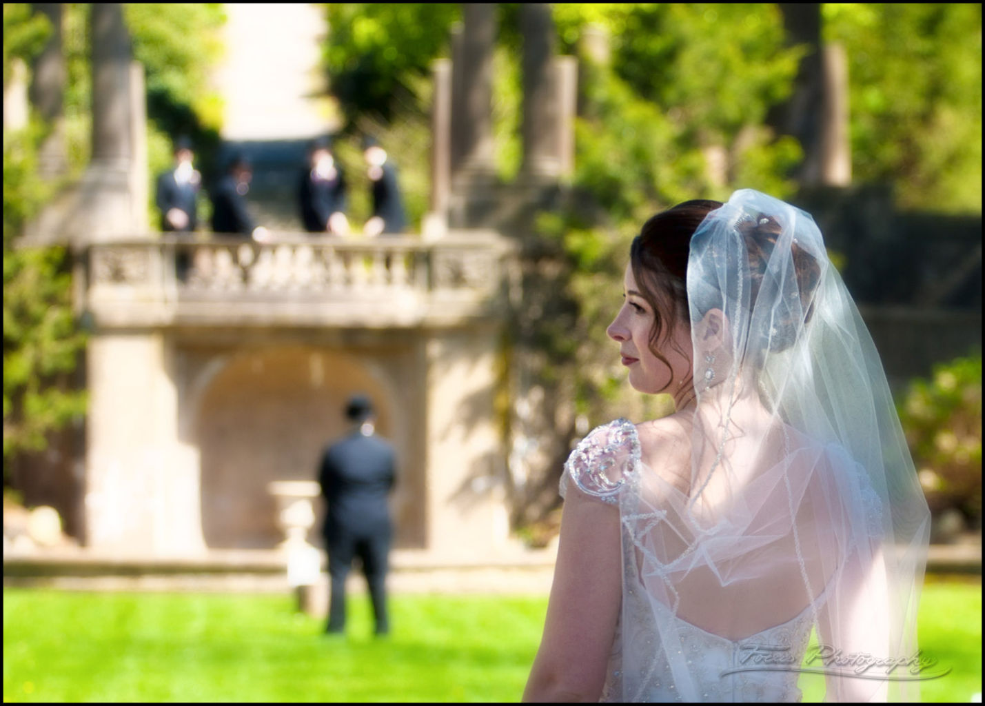 Bride with groom before first glance at Crane Estate Wedding. Photography by Focus
