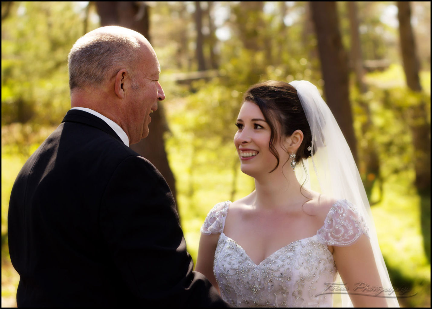 bride sees her father on wedding day