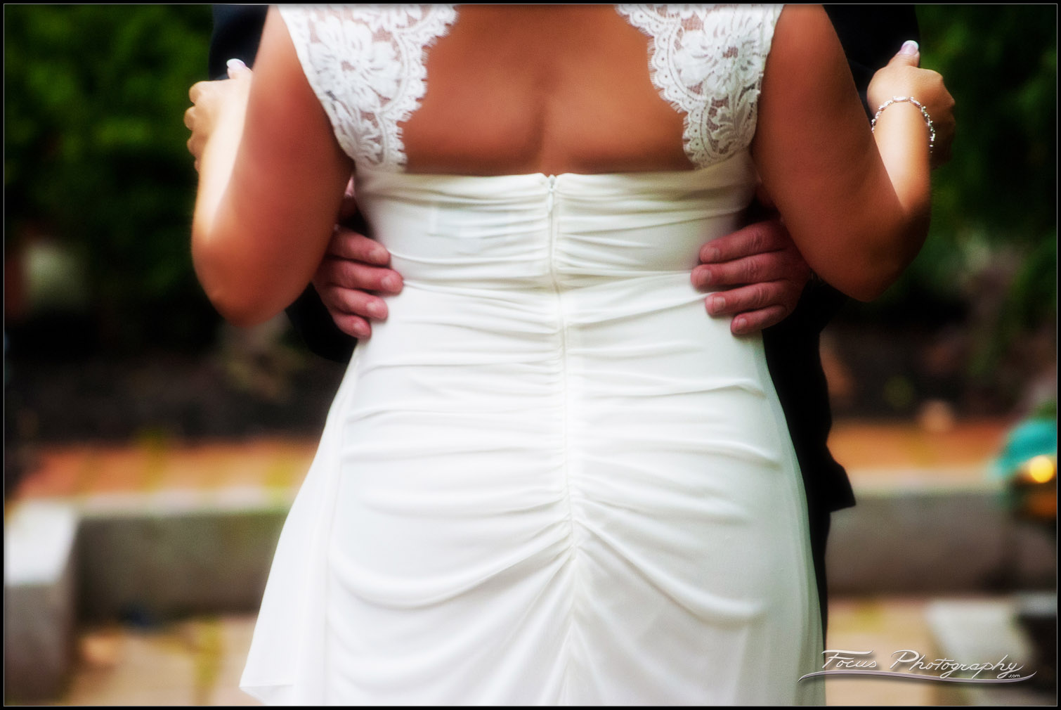 Back detail of wedding gown