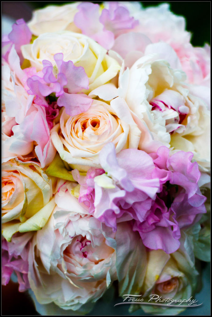 Close shot of wedding flowers from Wentworth by the Sea wedding. Photographers Will and Lucia of Focus Photography