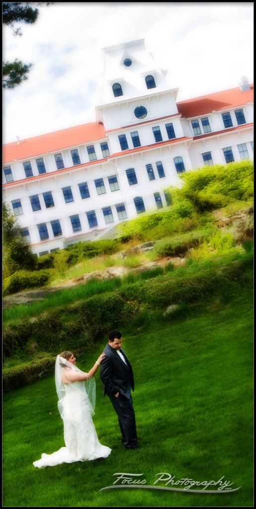 bride and groom at wentworth by the sea in new castle new hampshre - wedding photographers capture first look