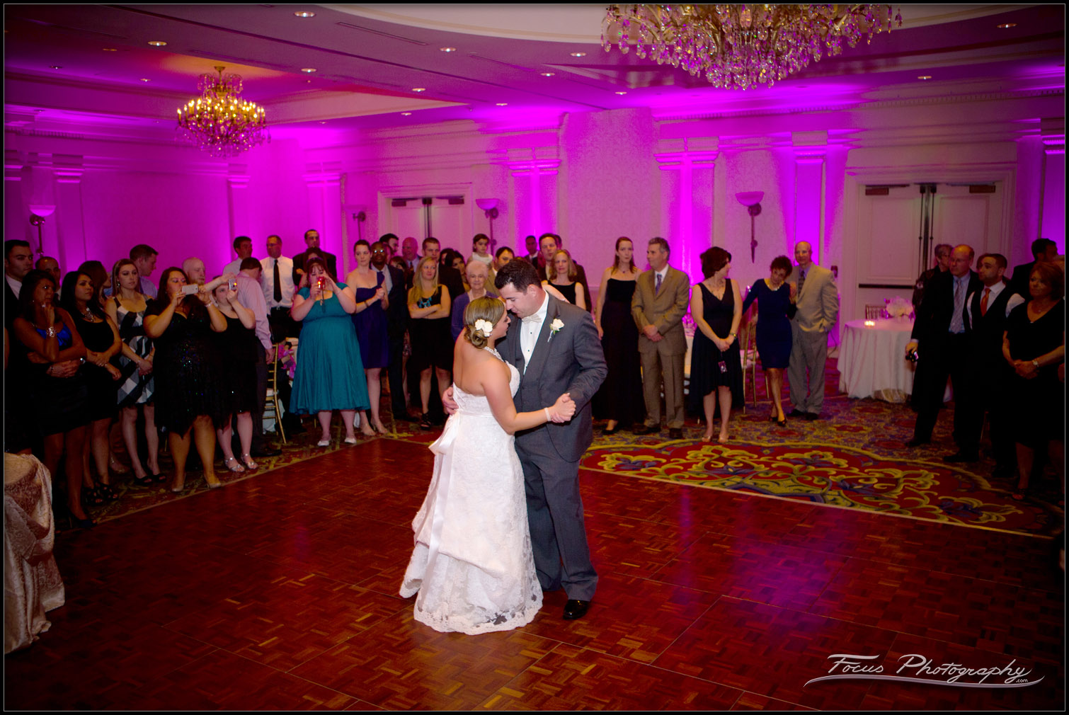 Bride and Groom Dancing in the Wentworth Ballroom