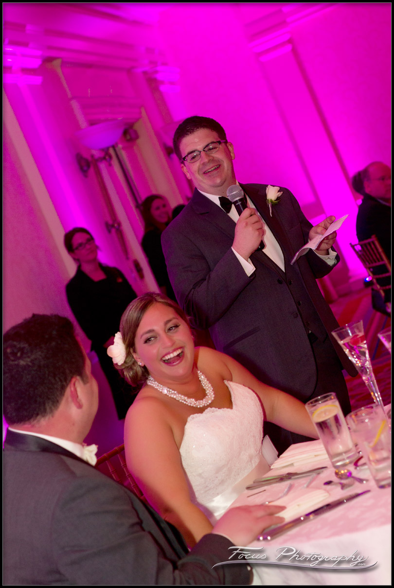 Bride laughs at Best Mans toast
