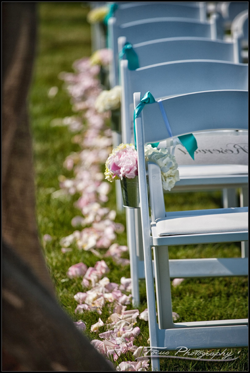 The ceremony chairs for a York Beach wedding - photography by focus