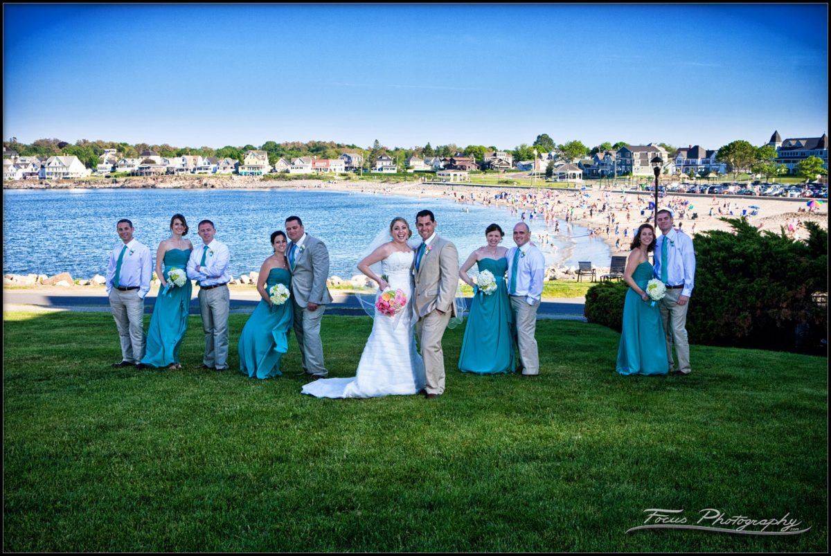 the wedding party at the union bluff meeting house overlooking york beach, maine