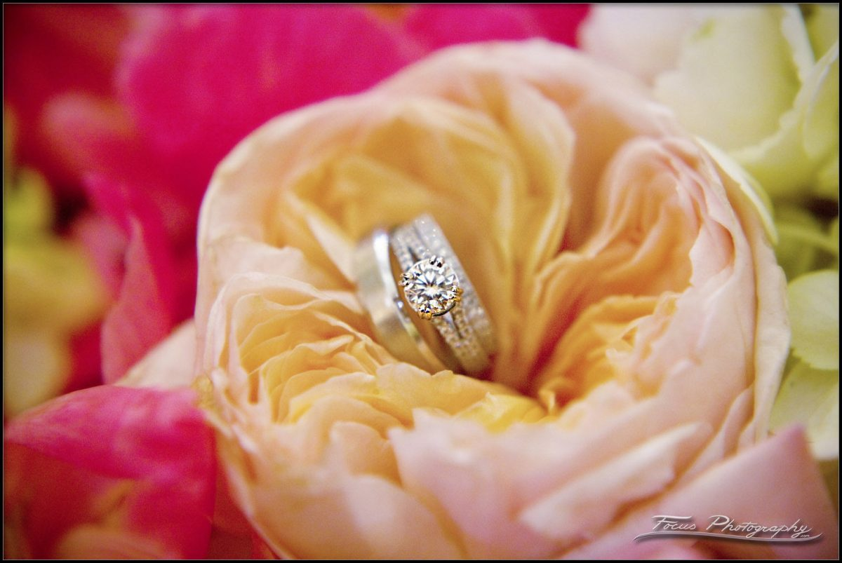 wedding bands in a flower