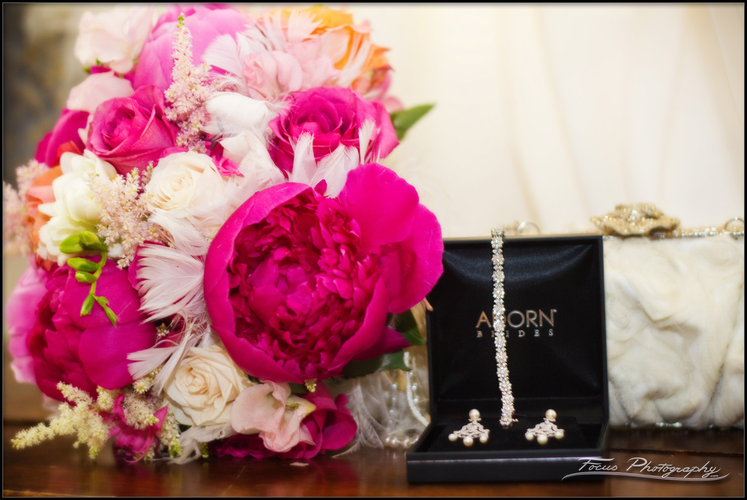 The bride's bouquet and her jewelry