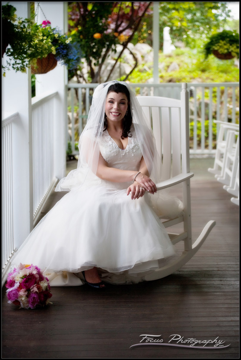 The bride on the front porch of the Nonantum resort - Kennebunkport, Maine.