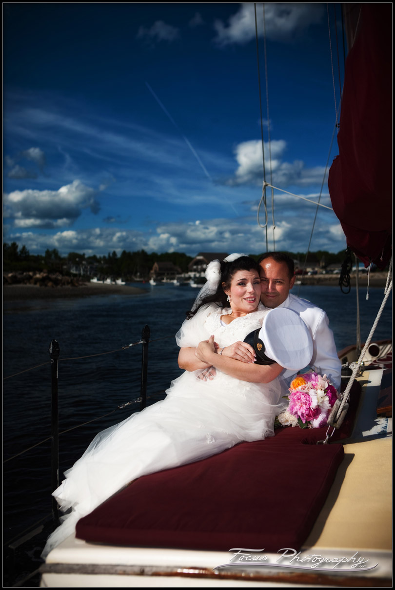 Bride and groom sailing into their wedding ceremony