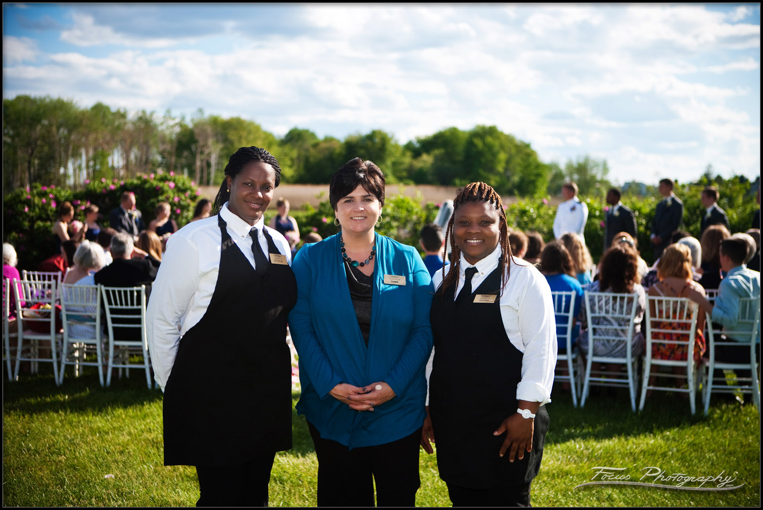 Dawn and her team ensure the wedding ceremony goes smoothly at the Nonantum Resort