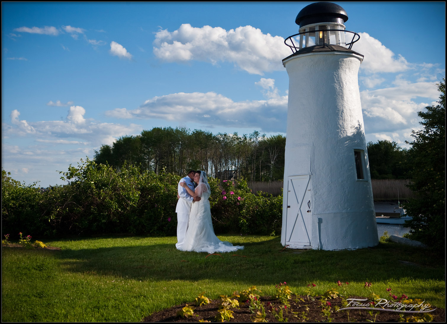 The wedding ceremony was performed under the watch of this lighthouse