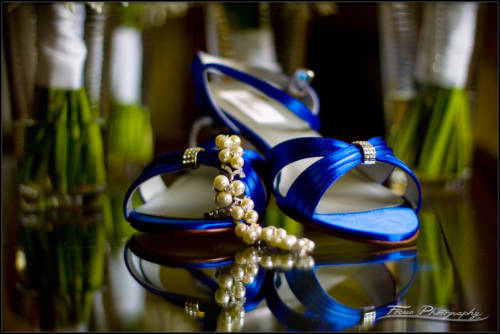 Shoes and jewelry at Maine wedding at bride's house