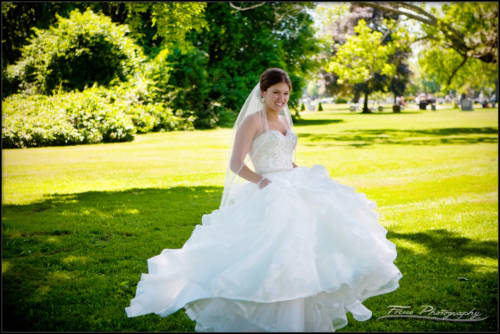 the bride spins in her gown