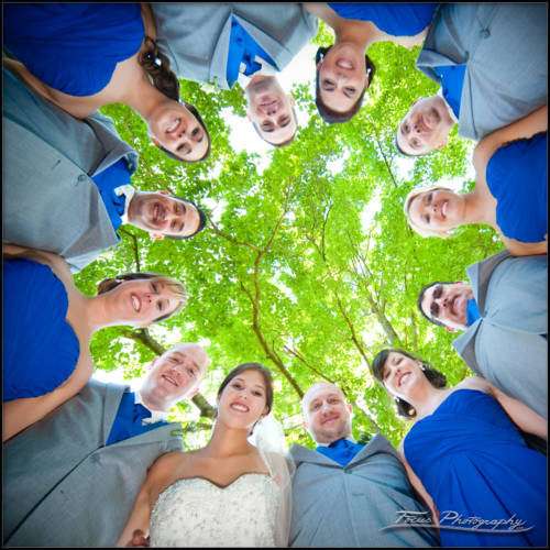 An image of the wedding party taken from the ground