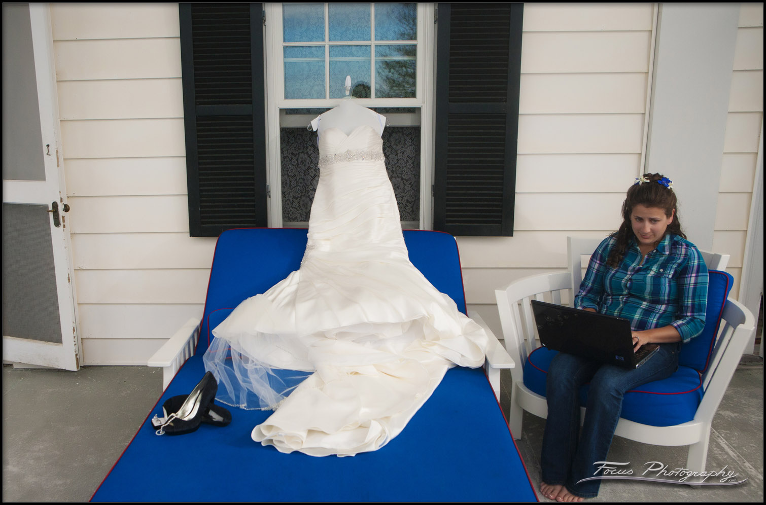 Wedding gown at Colony Hotel in kennebunkport maine