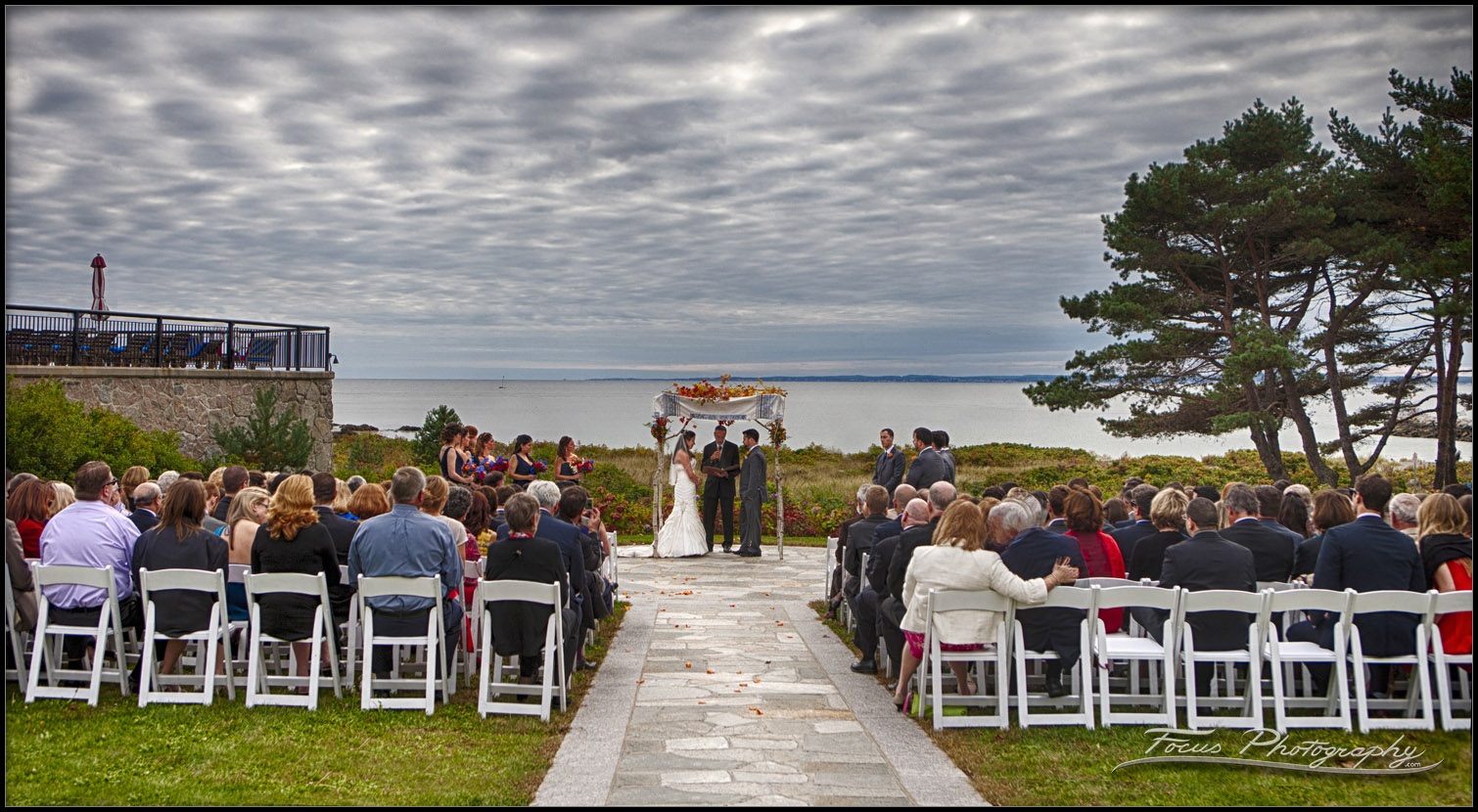 Wedding ceremony at Colony Hotel in Kennebunkport, Maine