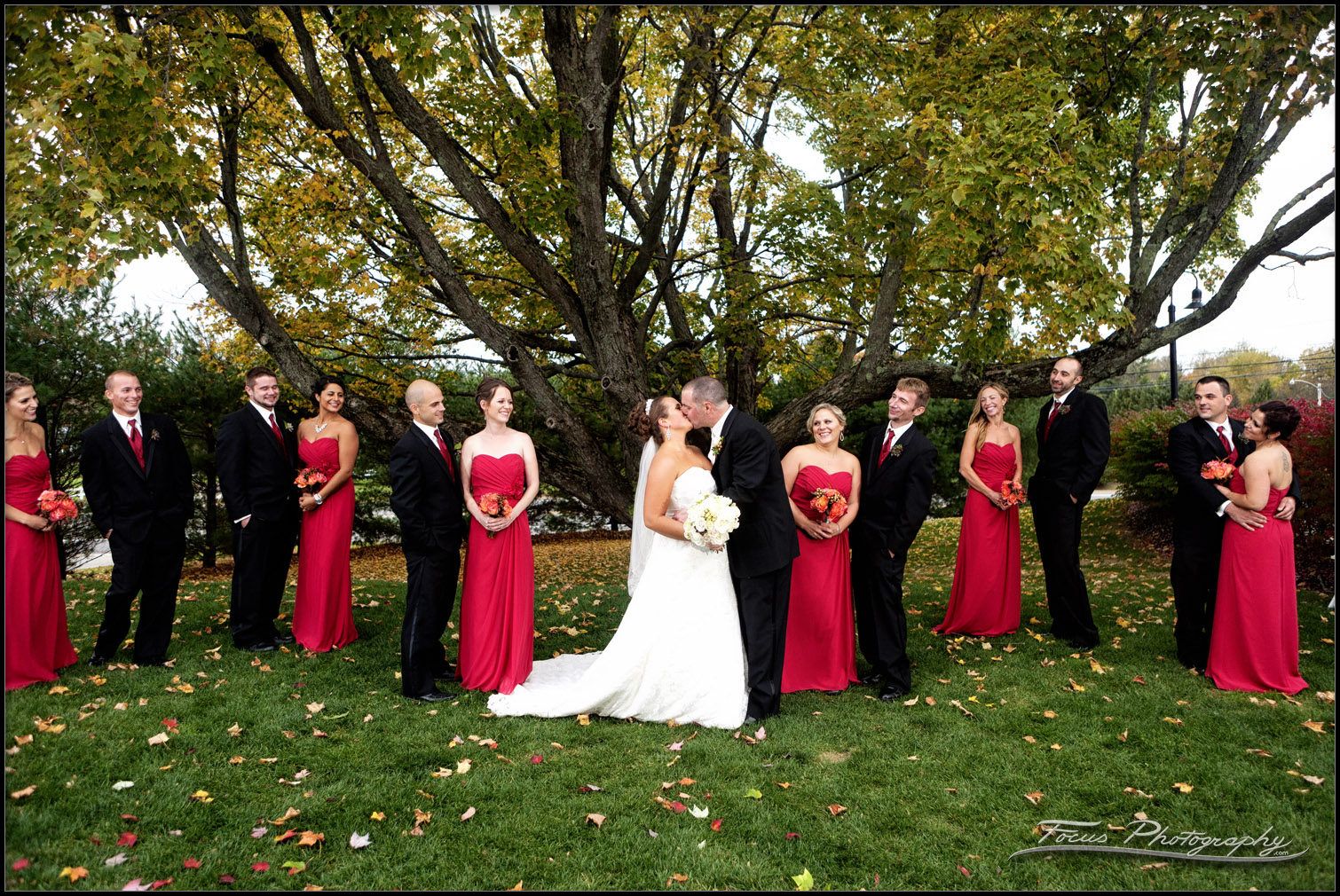 wedding party and bride and groom in berwick, maine wedding photography