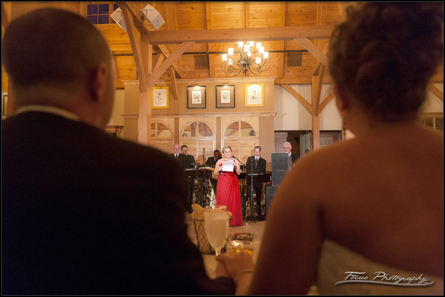 the maid of honors toast at Red Barn wedding