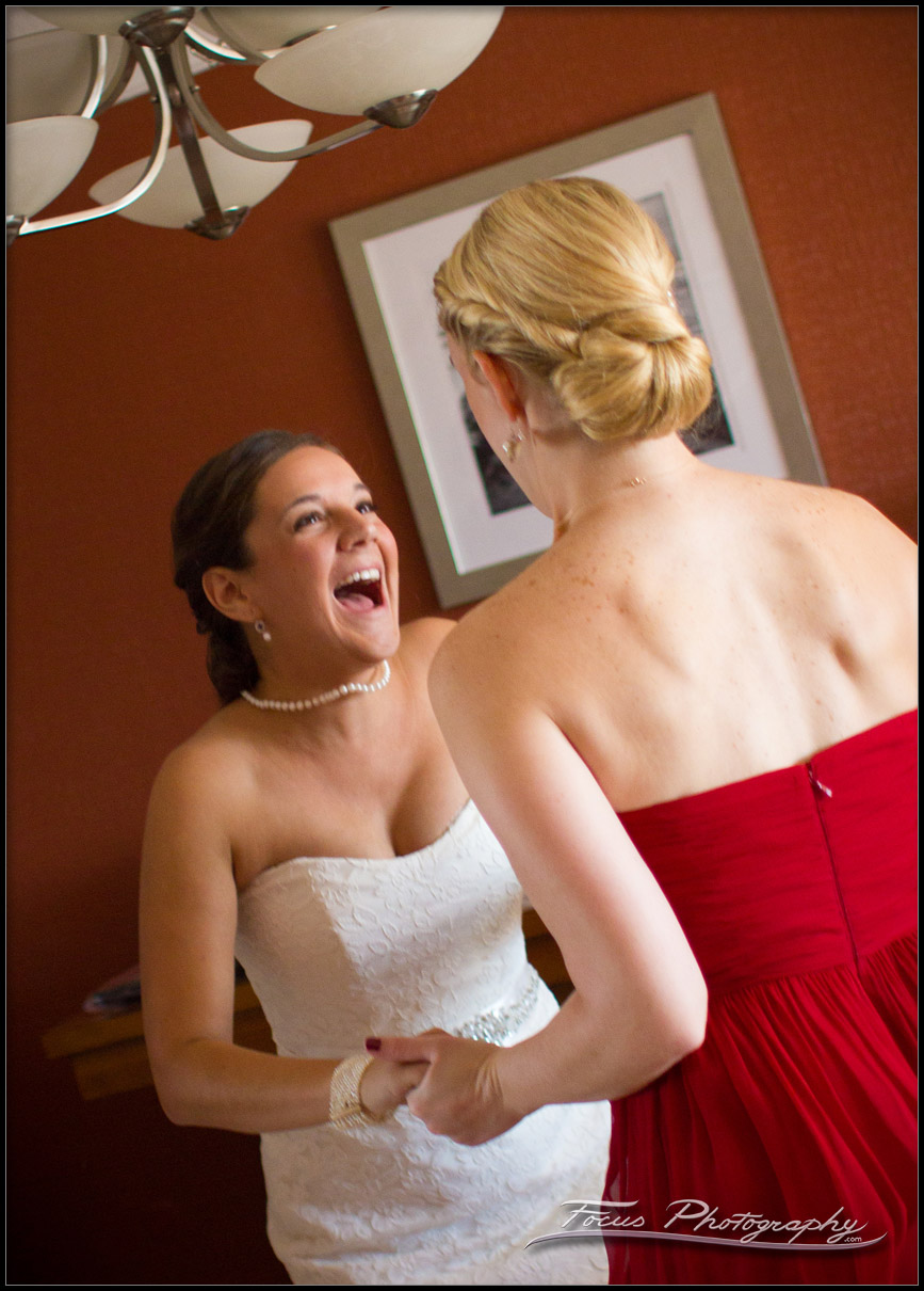 bride and maid of honor celebrate