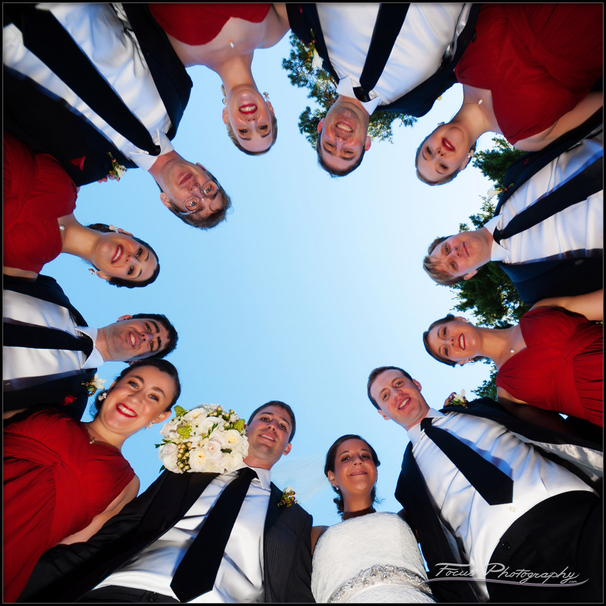 bridal party shot from below