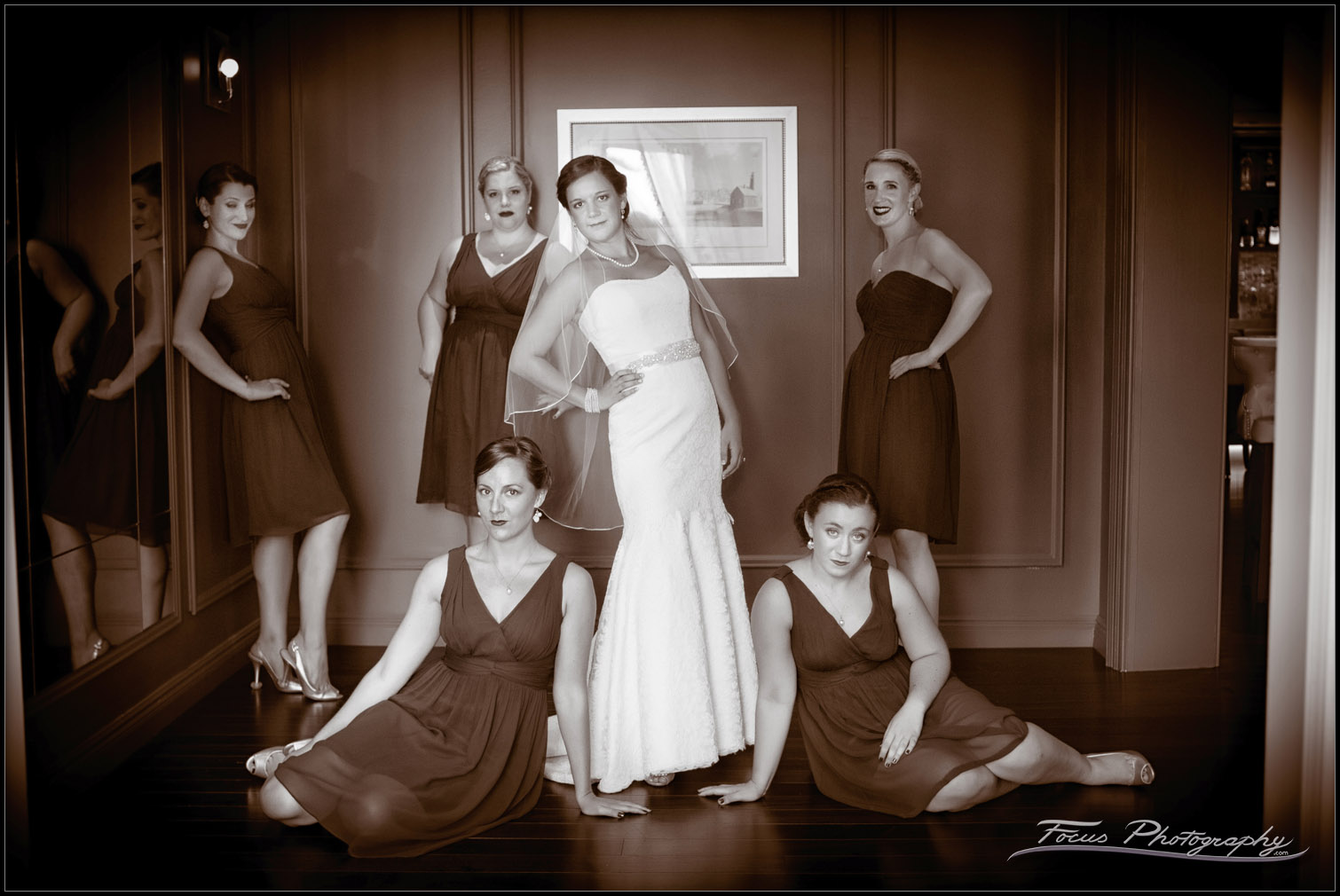 bride and bridesmaids at wentworth by sea