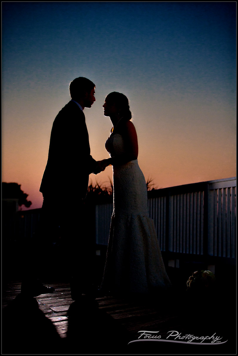 silhouette of bride and groom at wentworth