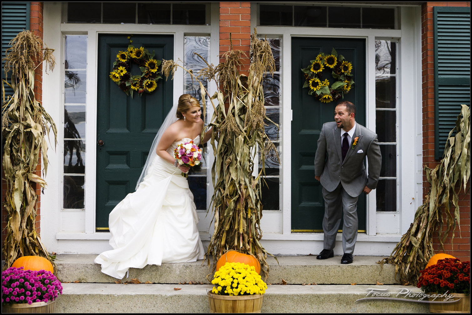 bride and groom at Red Barn wedding