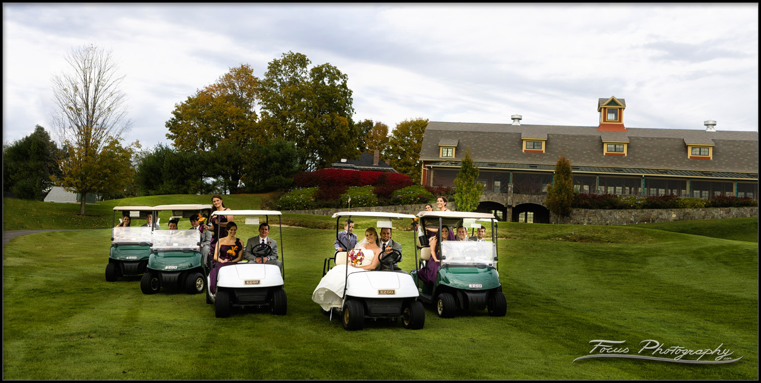 wedding party in golf carts at Red Barn wedding