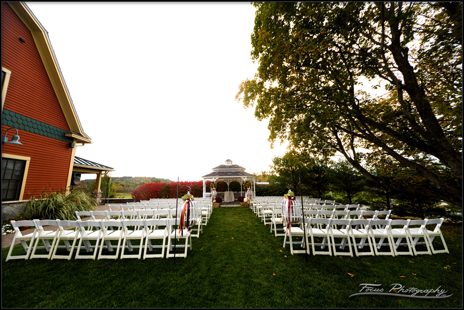 ceremony seating at red barn wedding