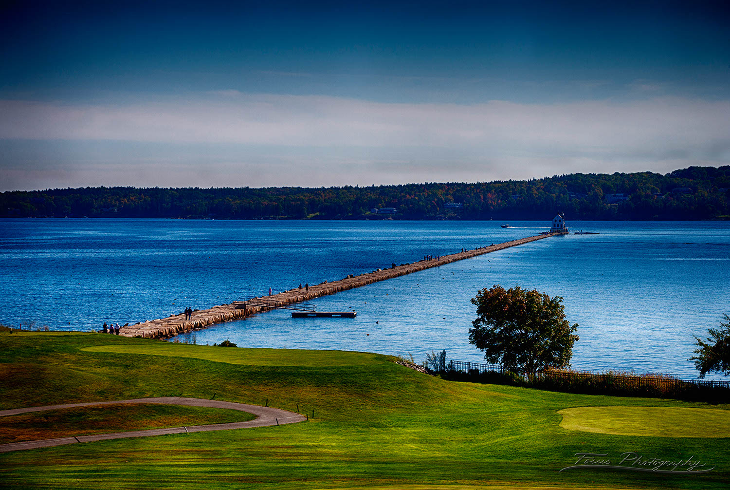 Samoset resort view of Rockport Breakwater in Pennobscott Bay