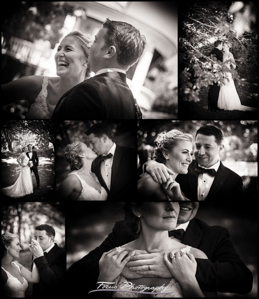 Black and white wedding images - romantic portraits of bride and groom at Grey Havens Inn in Maine