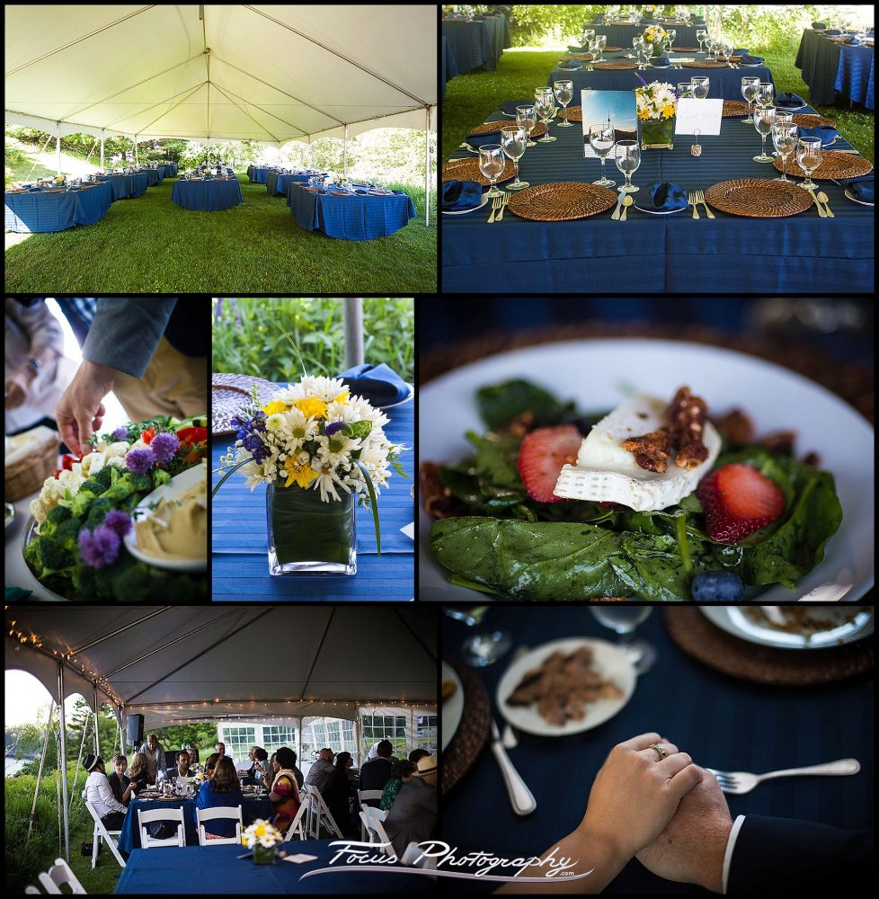 Tent and dinner - the reception was held in a tent at Grey Havens Inn.