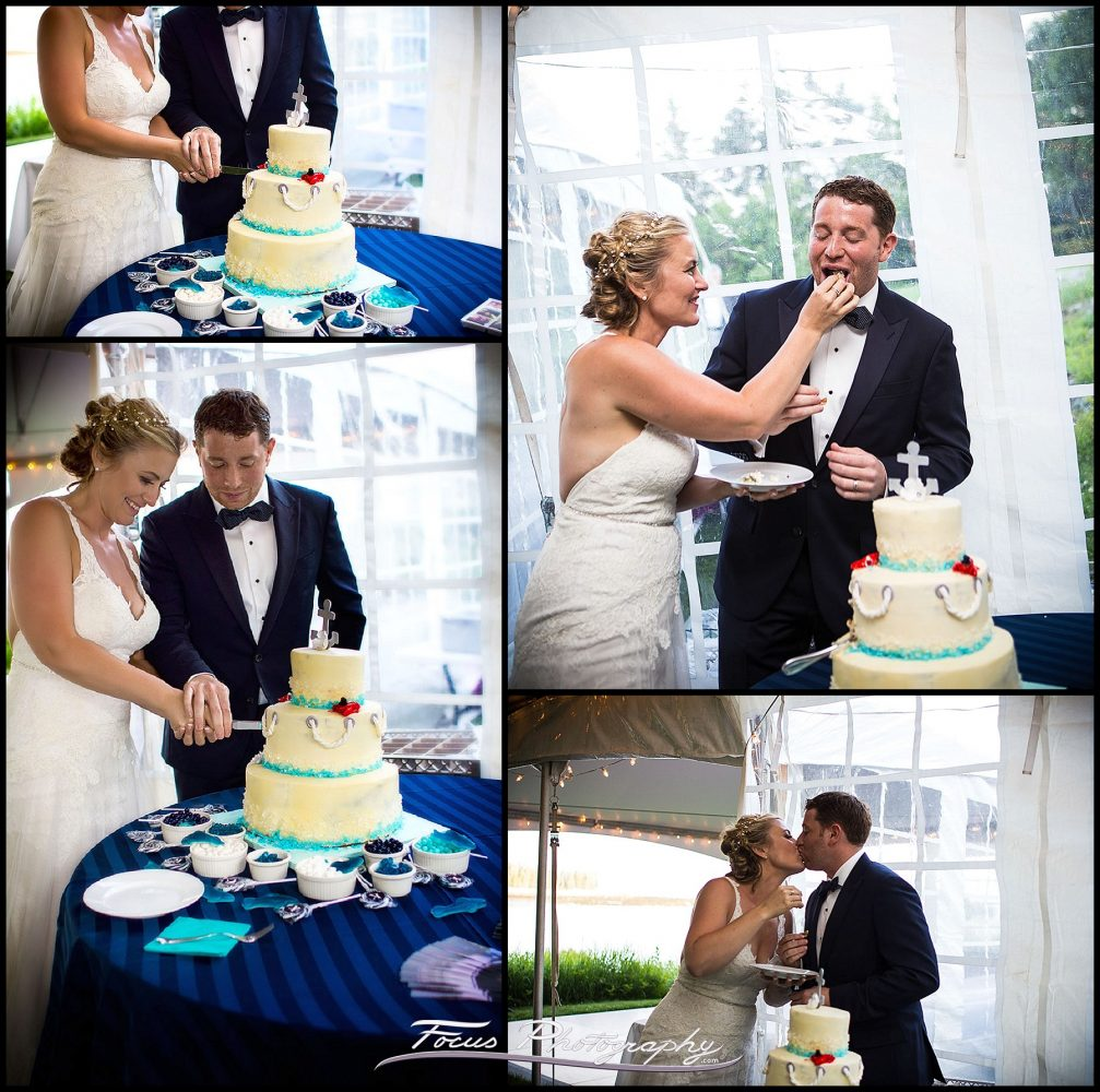 David and Liz feed each other wedding cake at Grey Havens Inn wedding.