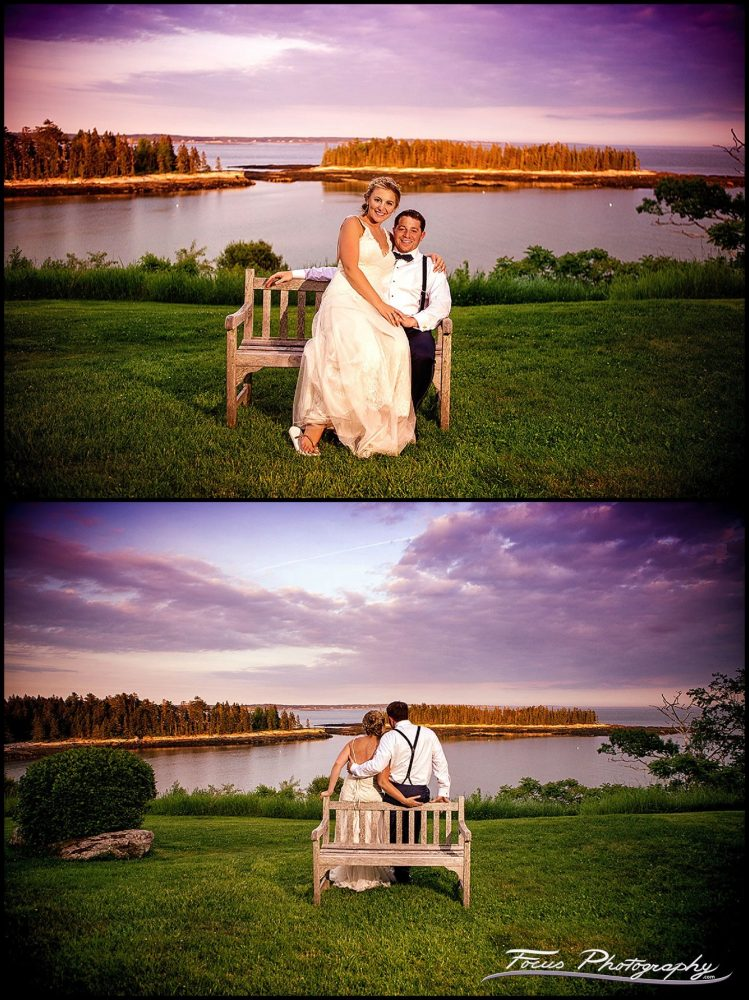 Sunset - Last portraits of David and Liz at sunset at Grey Havens Inn wedding in Georgetown, Maine. Photographers Will and Lucia of Focus Photography.
