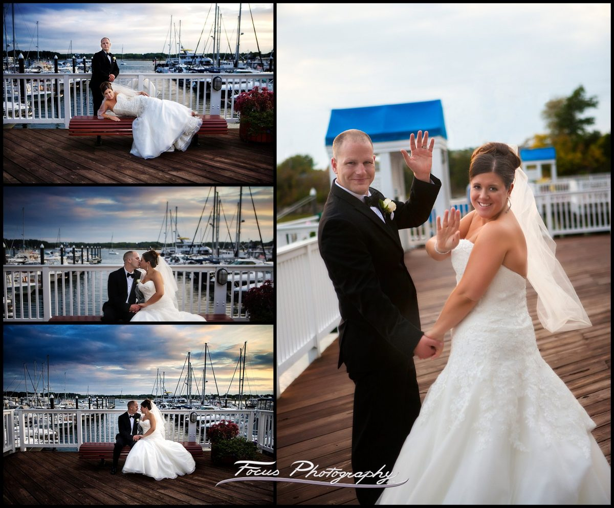 bride and groom at Wentworth Marina for wedding pictures by Wentworth by the sea wedding photographers Will and Lucia of Focus Photography