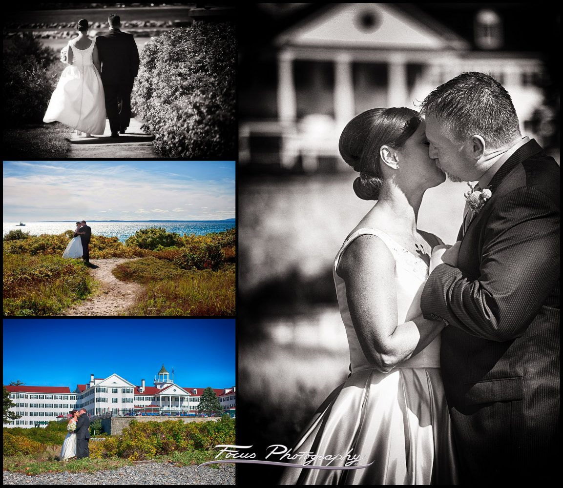 bride and groom portraits at the ocean at Colony Hotel wedding in Kennebunkport, Maine
