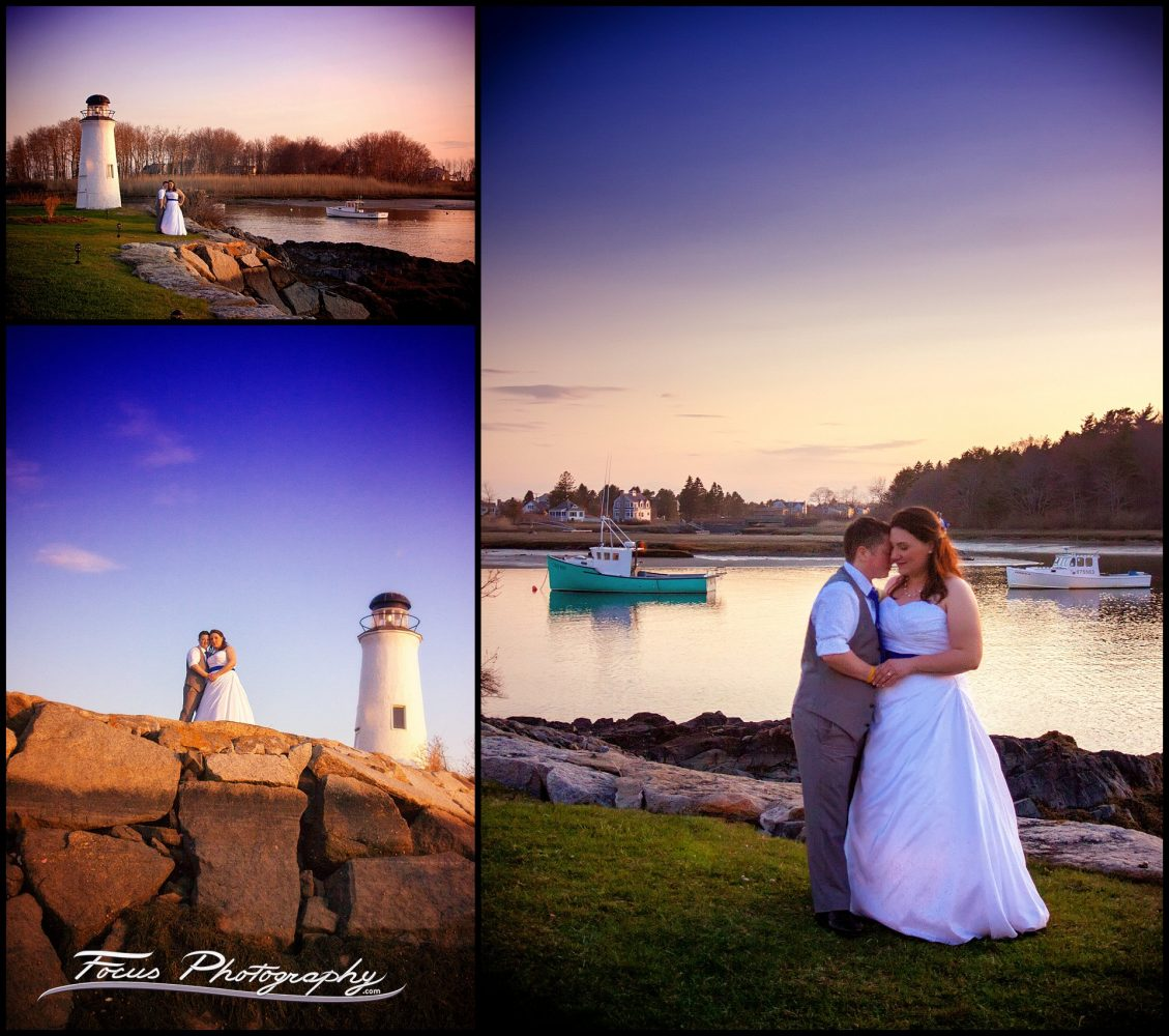 sunset wedding pictures of bride and groom at the Nonantum resort in Kennebunkport, Maine