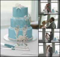 cake details and cutting at reception