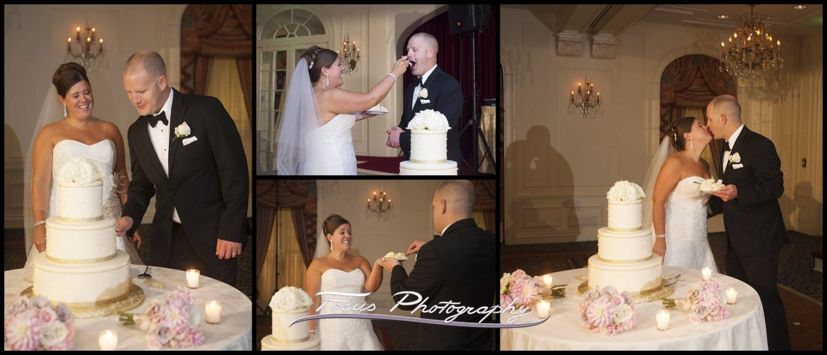 cake cutting at Wentworth by the Sea wedding in New Castle, New Hampshire