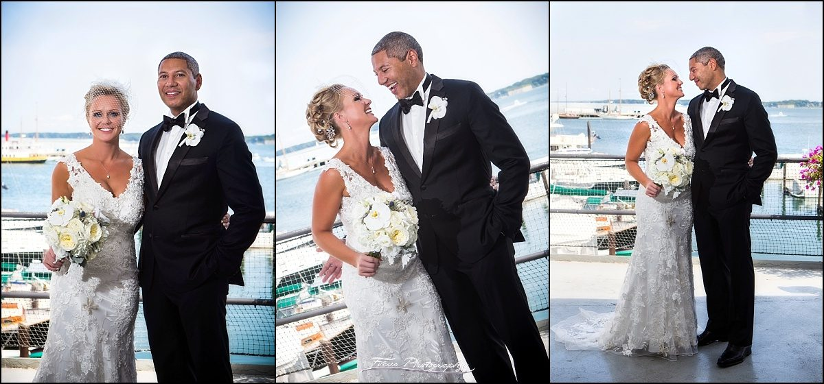 bride and groom at DiMillos floating restaurant wedding in Portland, Maine
